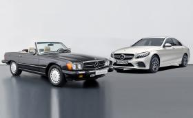 Този 1989 Mercedes-Benz 560 SL или чисто нов Merc-AMG C 43?