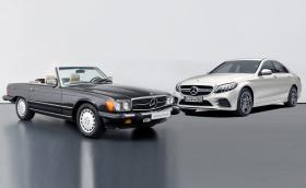 Този 1989 Mercedes-Benz 560 SL или чисто нов Merc-AMG C 43?