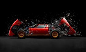 Това е експлодиращо Lamborghini Miura SV