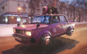 Дизайнер със страховита визия за Русия през 2077 година: летящи Лади и роботизирани УАЗ-ки