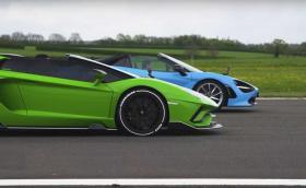 Битка на откритите зверове: Lamborghini Aventador S на драг срещу McLaren 720S (видео)