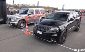 Битката на SUV зверовете: Mercedes-AMG G63 срещу Jeep Trackhawk на драг правата
