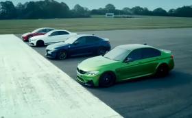 Tesla Model 3 препарира M3, C63 и Giulia QV на старта в драг състезание (видео)