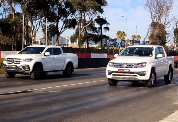 Битка на гигантите: VW Amarok срещу Mercedes X350d на драг пистата (видео)