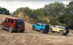 Mercedes-AMG G63 vs Suzuki Jimny vs Jeep Wrangler - изцяло офроуд тест (Видео)