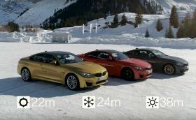BMW онагледи разликите между зимните и летните гуми с... драг състезания. Видео