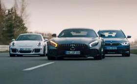 Мощната 608 к.с. Alpina B5 Touring се гаври с Porsche 911 GT3 и Merc-AMG GT R. Видео