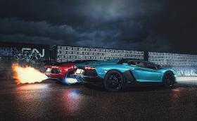 Да посрещнем Xелоуин с огън, гръмотевици, три Aventador-a и едно Ferrari. Галерия за очите, сърцето и душата