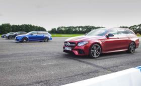 Mercedes-AMG E 63 S срещу Audi RS 6 срещу BMW M760Li срещу Tesla Model S P100D. Видео