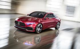 Mercedes Concept A показва бъдещето на малките Benz-ове. Има супер фарове и е червен