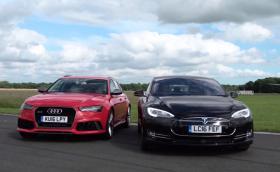 Audi RS 6 Avant vs Tesla Model S P90D. Драг видео