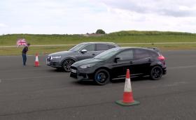 Audi SQ7 срещу Ford Focus RS, дизеловият SUV срещу бензиновия хотхеч. Видео