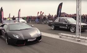 Ще успее ли тунинговано до 725 к.с. E30 да ступа Aventador на драг? (Видео)