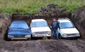 Lada 2101, Toyota Tercel и Audi 100: Коя ще запали след година под земята? (Видео)
