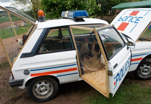 Французин направи курник в полицейска кола. Буквално.
