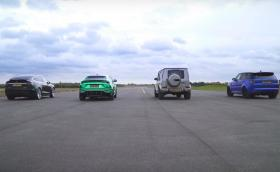 Драг битка: Model X P100D vs Urus vs новия G63 vs RR Sport SVR. Силно видео