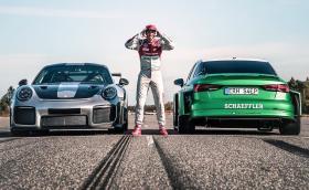 Това електрическо Audi RS 3 е с 1200 коня. Бие Porsche 911 GT2 RS на драг. На заден ход… Видео