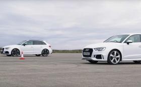 Audi RS3 на драг състезание със себе си - със и без филтър за твърди частици. Видео