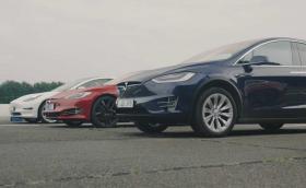 Моментът на истината: Model S срещу Model 3 и Model X на драг. Видео