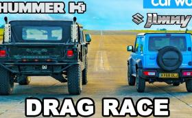 Драгът на бавните: Hummer H1 срещу Suzuki Jimny. Видео