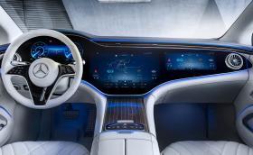 Това е интериорът на Mercedes-Benz EQS. Дисплеят е с диагонал 141 см
