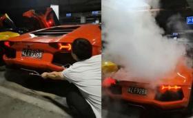 Китаец повреди Lamborghini след опит да готви на открит огън (Видео)