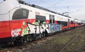 Австрийски тестов влак осъмна с графити в Пловдив
