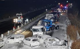 В Япония снежна буря доведе до верижна катастрофа със 134 коли