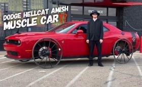 Dodge Challenger Hellcat с колела от… каруца. Прави бърнаут, разрязва асфалта. Видео