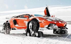 Lamborghini Aventador на вериги от моторна шейна. Видео