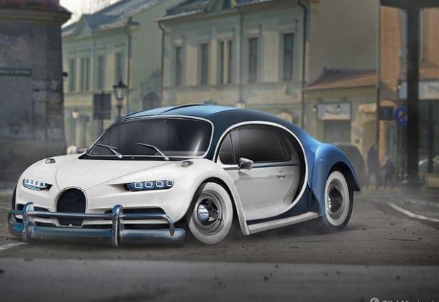 Bugatti Chiron и VW Beetle