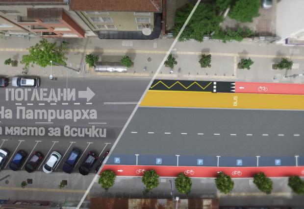 Галерия с осем снимки и графики на новото разпределение на лентите по три основни улици и булеварда в София