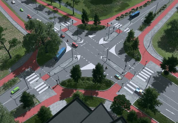 Кръстовище с велоленти в Нидерландия