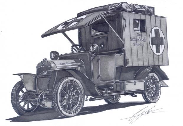 Laurin & Klement Typ RK (18/50HP), 1912-1916, линейка. Снимката, по която е направена тази скица, е направена във Виньол, Франция, докато колата е използвана за нуждите на германския Червен кръст на 17 септември 1918.