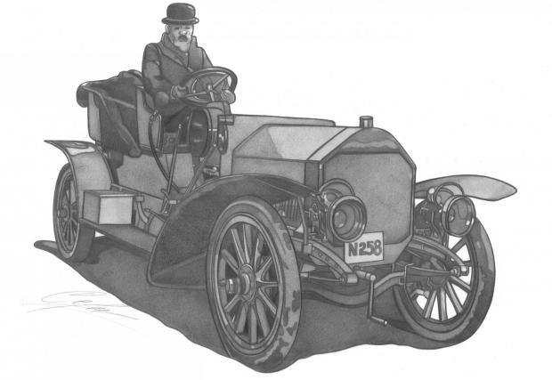 Laurin & Klement Typ E Hybrid, 1908. Първият хибрид на производителя! Дизайнерът Фратишек Крижик заменя трансмисията с електромотор за задвижването. Бензиновият мотор с 28 к.с. се използва само за генериране на необходимото електричество.
