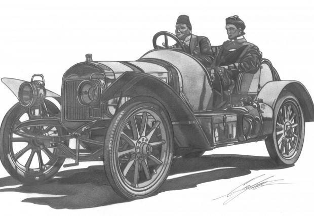 Laurin & Klement FC, 1907-1909. Моделът FC поставя Laurin & Klement на световната спортна сцена с успехи в много състезания. Версията FCS постига рекорд за скорост от 118,7 км/ч. На рисунката е FC на старта на състезание с граф Коловрат зад волана.