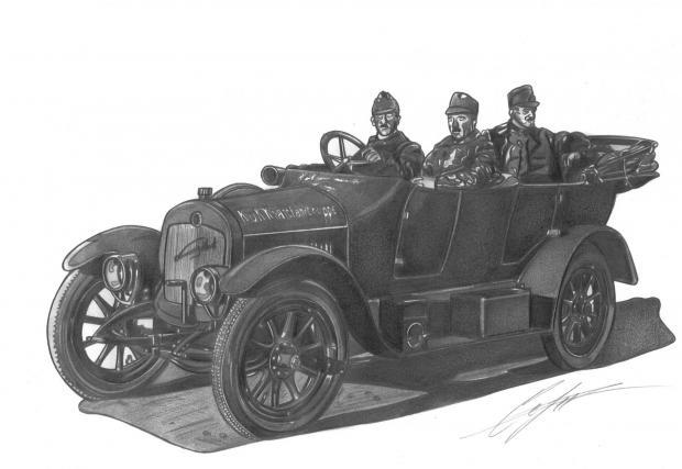 Laurin & Klement Typ M, Mb, MO, 1913-1915. През Първата световна война автомобилите на L&K са били използвани от австро-унгарската армия. Рисунката е направена от фотография от Константинопол през 1916.