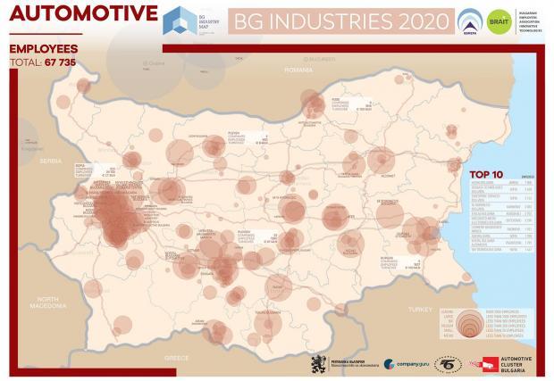 Картата на доставчиците на автомобилни компоненти в България според Аутомотив Клъстер България