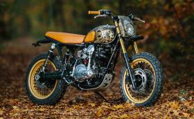 Татуираният Kawasaki W650, олекотен и направен за гората. Доста нестандартен байк