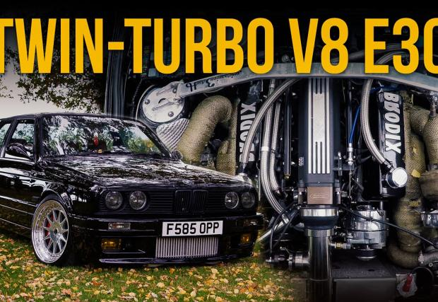 BMW 360i E30... с 6-литров битурбо Chevy V8, скорости от Supra и 800 коня