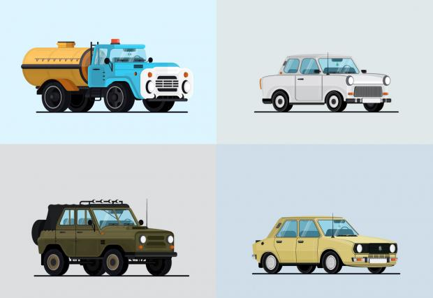 Ники Иванов и Ники Николов за съветските автомобили. Едно страхотно авторско GIF-че, родно производство, дело на талантлив тандем