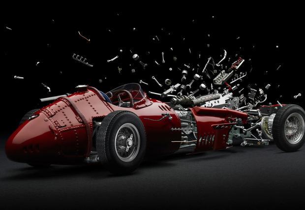 Изкуството да взривиш класически автомобил. И да го заснемеш. Изумителният труд на един швейцарски фотограф