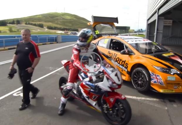 Джон Макгиенс се изправя срещу... собствения си мотоциклет. С Honda Civic. Видео