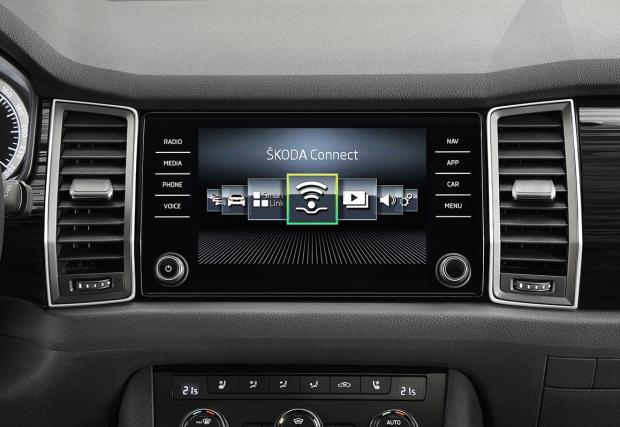 Ето го и интериорът на най-чаканата Skoda: Kodiaq. Дисплеят напомня на този на Porsche Panamera...