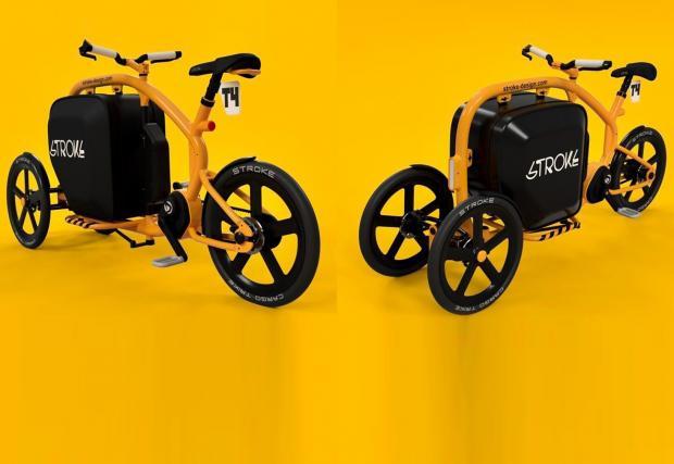 Шантаво: Японци пускат електрическо колело с три гуми и вграден куфар